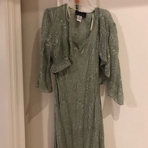 Alex Evenings silk sequinned gown w/jacket